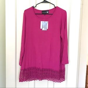 NWT Antthony Pink Long Sleeve Top with Lace Detail